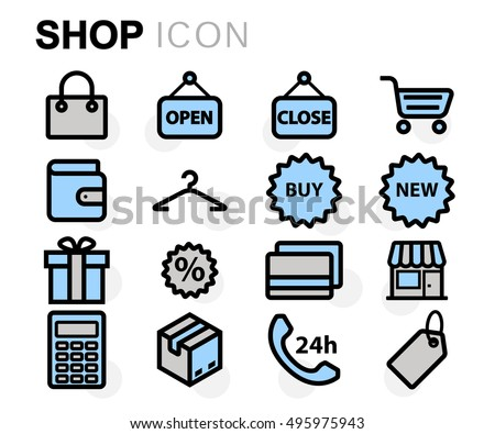Vector flat line shop icons set on white background