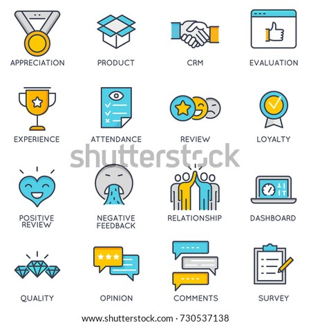 Vector flat linear icons related to  to feedback, review and customer relationship management. Flat pictograms and infographics design elements