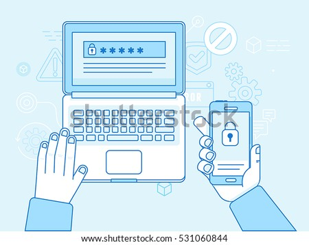 Vector flat linear illustration in blue colors and trendy flat linear style - multi factor authentication, online access control - mobile phone with password and authorization code to secure user data