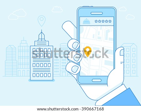 Vector flat linear illustration in blue colors - hotel booking app on the screen of the mobile phone - gps searching point on the city map and city landscape in the background