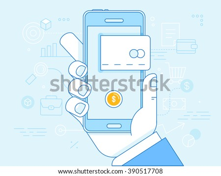 Vector flat linear illustration in blue colors - online mobile payment concept - hand holding mobile phone with credit card icon on the touchscreen - stock vector