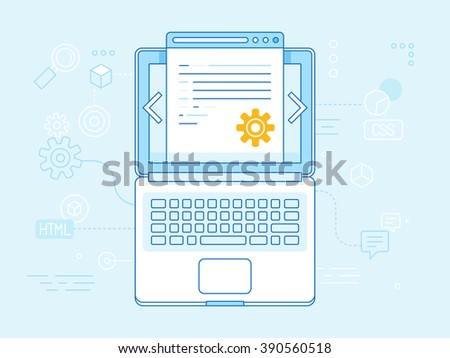 Vector flat linear illustration in blue colors - programming and coding concept - laptop icon top view with website code on the screen - stock vector