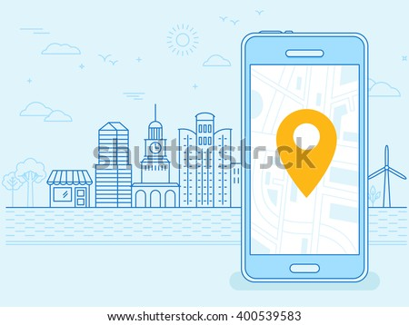 Vector flat linear illustration in blue colors - screen of the mobile phone - gps searching point on the city map and city landscape in the background