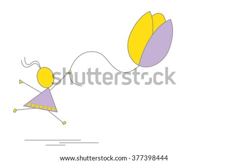 Vector, flat - Little girl with ponytail is running, jumping and holding balloon shaped as flower-tulip in her raised hand. Easter, sprint, summer time. Child playing outdoors. Simplified, geometric.