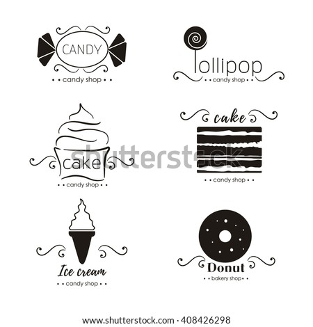 Vector flat logo collection for candy shop,coffee shop, sweet store.  Sweet store logo.  Candy, ice cream, cake, donut, lollipop. - stock vector