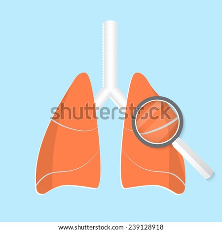 Vector flat lung icon. Eps 10 illustration. - stock vector