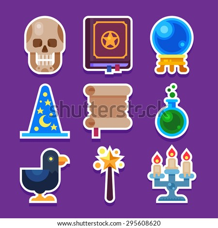 Vector flat magic set. Game objects, icons. Skull, spell book, magic orb, wizard hat, spell scroll, potion, familiar, magic wand, candle. - stock vector