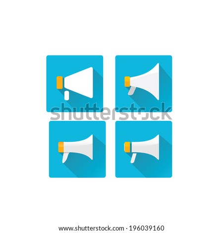 vector flat megaphone icon set. vector flat color speaker or sound icon / button - stock vector