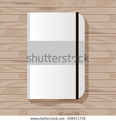 vector flat  mock up template wood texture background surface table realistic  paper notebook sketchbook stationery  - stock vector