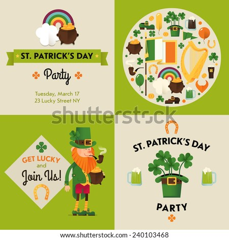 Vector flat modern creative concept design on Saint Patrick's Day party   St. Pat's Day party invitation design elements - stock vector