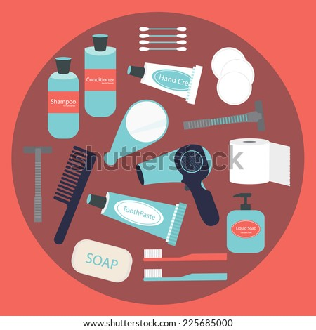 Vector flat modern design of travel and portable toiletry items for women - stock vector