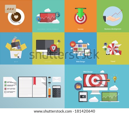 Vector flat modern icons on sample background - stock vector
