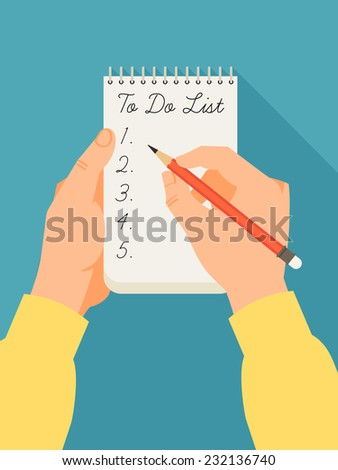 Vector flat modern illustration on hands ready to fill up to do list | modern design on hands holding notebook and pencil - stock vector