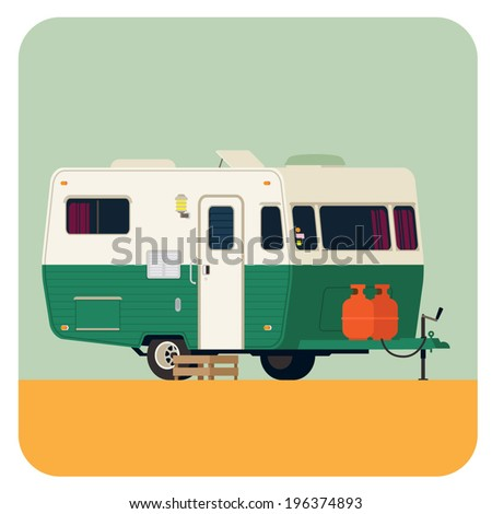 Vector flat modern illustration on vintage looking camping trailer parked | Rounded corners square icon on camping