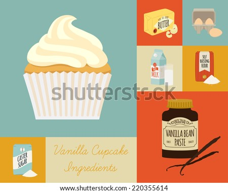 Vector flat modern square baking icons featuring cupcake and ingredients such as vanilla paste, butter, sugar, eggs and milk   Stylish modern pastry baking background  - stock vector