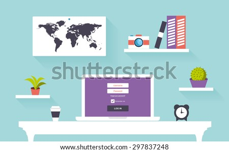 Vector flat modern workspace office with computer,bookshelf and book, map, camera, minimalistic style - stock vector