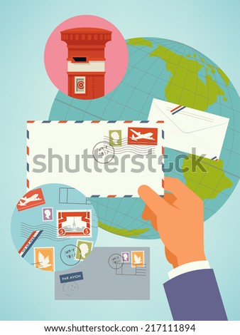 Vector flat modern worldwide airmail concept design illustration background | Correspondence and postal concept modern background template  - stock vector