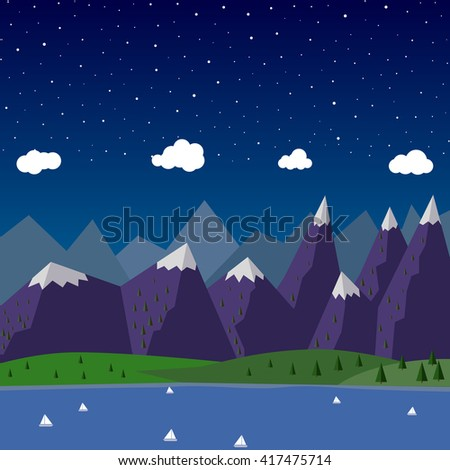 Vector Flat night mountain Banner mountain with boats