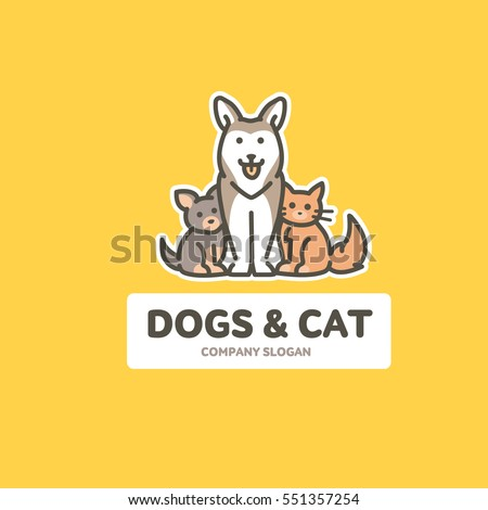 Vector flat outline logo template with cat and dog - friendly cats and dogs