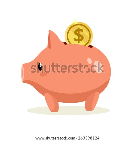 Vector flat piggy bank illustration - stock vector
