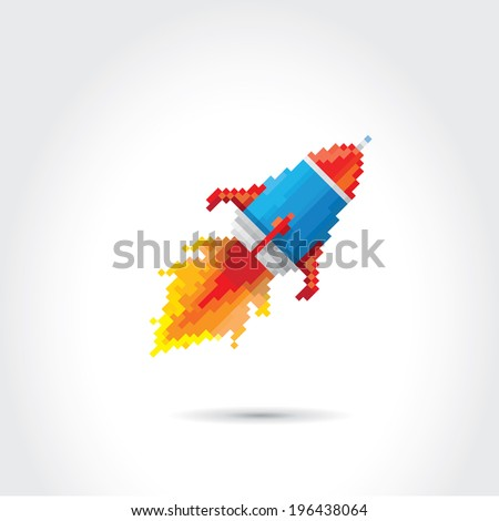 vector flat pixel art rocket on stylish grey background. rocket launch or business startup icon - stock vector