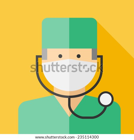 Vector flat profession doctor colorful icon. Eps10 - stock vector