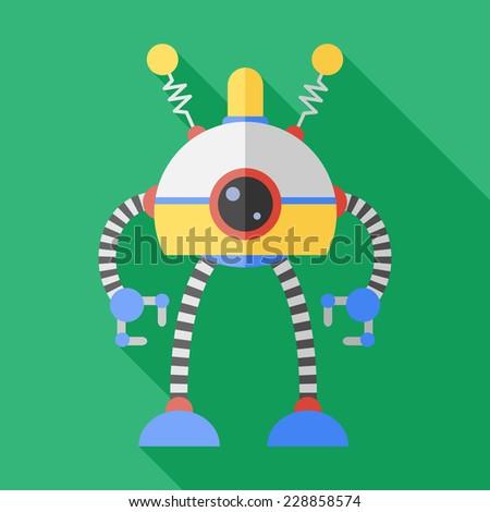Vector flat retro color robot toy. Eps10 - stock vector