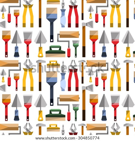 vector flat seamless pattern instruments gardener carpenter builder engineer professional tools style items essentials objects colorful  icons