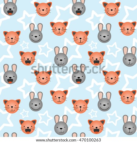 Vector flat seamless pattern, set of cute animal faces. Cat and rabbit head emotions, background element for your design. Kitten and bunny children backdrop illustration. Kids stuff decoration for boy