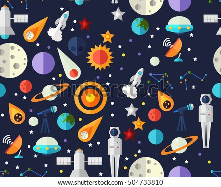 Vector flat seamless texture pattern Space exploration .