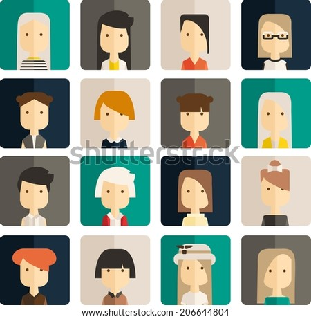 Vector flat set avatar people - stock vector
