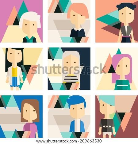 Vector flat set avatar people - stock vector