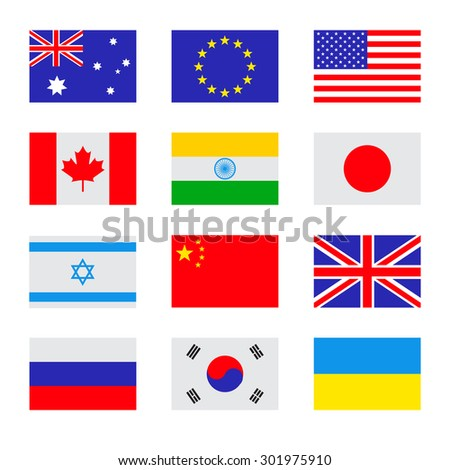 Vector flat set of the flags icons. Simple vector flags of the countries - stock vector