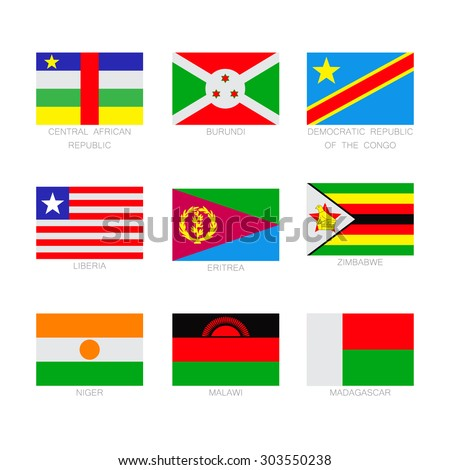 Vector flat set of the flags icons. Simple vector flags of the poor countries