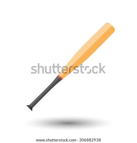 Vector flat simple baseball bat icon.  Sport illustration - stock vector
