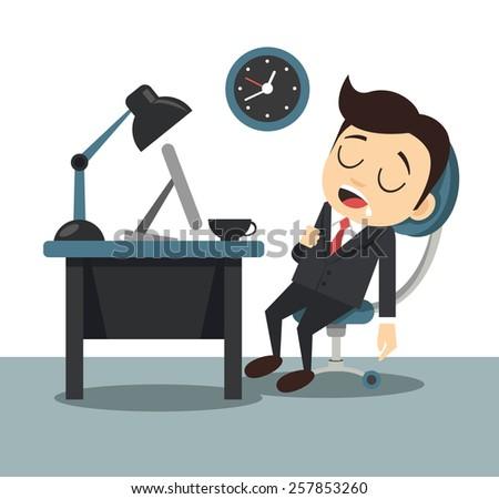Vector flat sleeping businessman illustration - stock vector