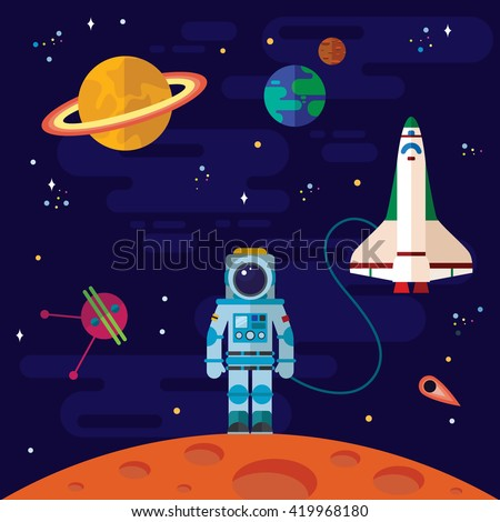 Vector flat space elements with spaceship and planets. - stock vector