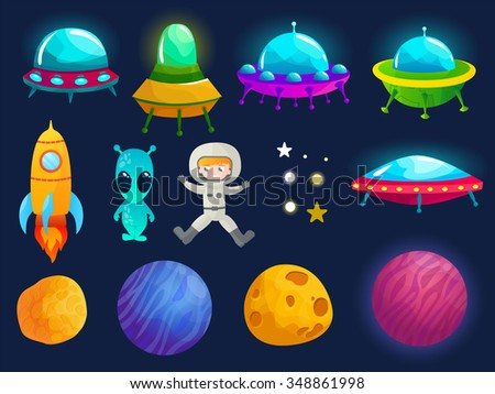 Vector flat space elements with spaceship, ufo, planets, aliens and astronauts - stock vector