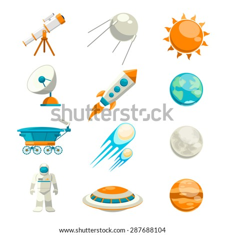 Vector flat space icon set. Satellite and astronomy, planet exploration, astrology station - stock vector