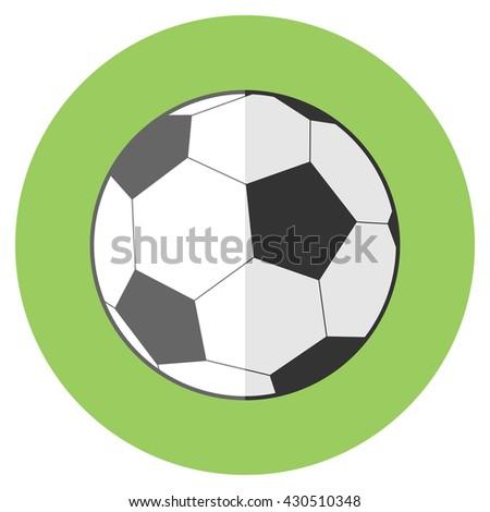 Vector flat sport reward icon with long shadow - football soccer ball - stock vector
