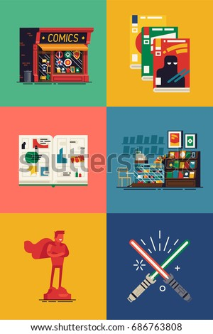 Vector flat square icons on comic books shop with store building, interior, opened graphic novel spread, abstract magazine covers, action and collectible scale figures, toys and merchandise