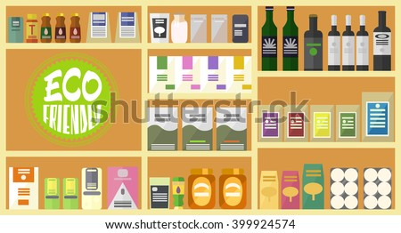 Vector flat store. Organic goods. Eco friendly sign. Full shelves of healthy products. Items set. Bottles, bags, packs and boxes. - stock vector