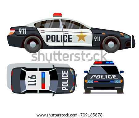 Vector flatstyle cars different views police vector de vector flat style cars in different views police car security vehicle with siren illustration malvernweather Choice Image