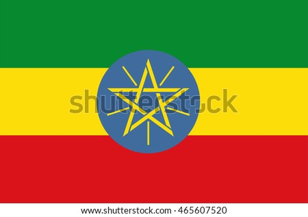 Vector flat style Federal Democratic Republic of Ethiopia state flag. Official design of Ethiopia national flag. Symbol with horizontal stripes and star emblem. Independence day, holiday, background