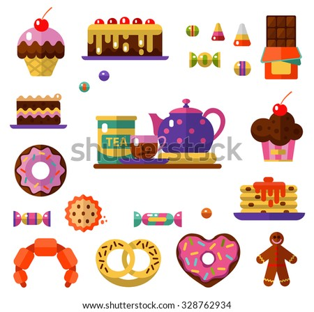 Vector flat style icons of tea party and sweets products. Dessert icons set. Cup, teapot, tea can, tea, donut, chocolate, cake, cookie, candy, gingerbread, croissant and pretzel. - stock vector