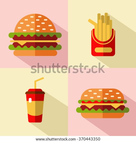 Vector flat style icons set of fast food, junk food with long shadow. Hamburger, cheeseburger, french fries and soda.