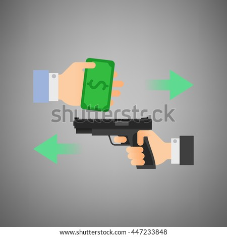 Vector Flat style illustration. Hand giving money design. Hand holding a gun. Robbery concept.