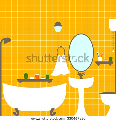 Vector flat style illustration of bathroom and water closet interior with orange ceramic tile wall, bathtub, big oval mirror, washstand, shelves with tubes, toothbrushes, towel, lamp on ceiling - stock vector