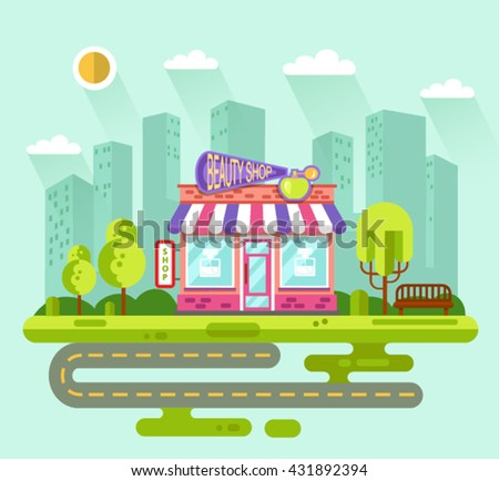 Vector Flat Style Illustration Of City Landscape With Nice Beauty Shop Or Cosmetics Store Building