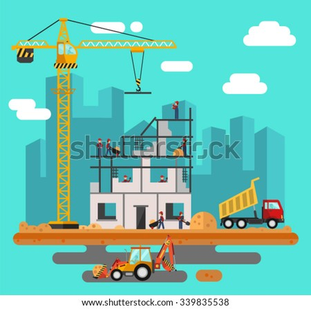 Vector flat style illustration of construction process, city landscape. Including crane and bulldozer or excavator, sand and cement, truck, builders and workers. - stock vector